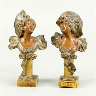 Two small Art Nouveau busts around