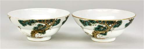 Pair of bowls with crane and pine
