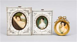 3 miniatures, 19th/20th c., portrai