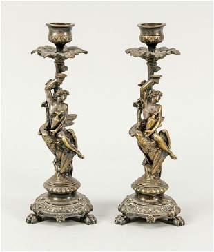 Pair of Ganymede candlesticks, 19th