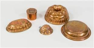 5-piece copper convolute, 19th c.,