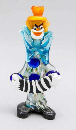 Standing clown with accordion,