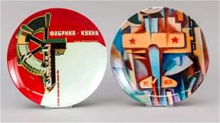Two propaganda plates, Russia,