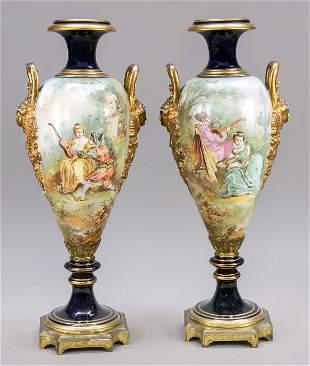 Pair of Sevres style grand vas