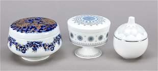 Three round lidded jars, 20th