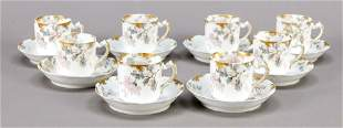 Eight demitasse cups with sauc