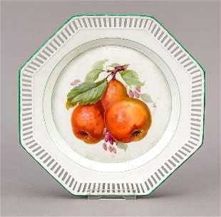 Octagonal fruit plate, KPM Ber