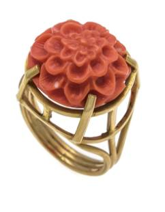 Coral ring GG 750/000 unstampe