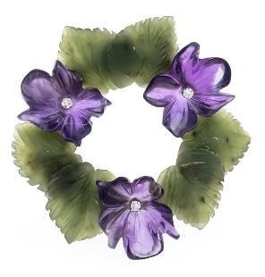 Flower brooch GG 585/000 with