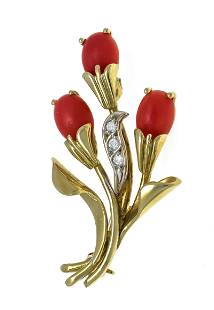 Coral diamond brooch GG/WG 585