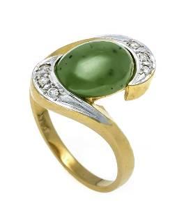 Jade diamond ring GG/WG 750/00