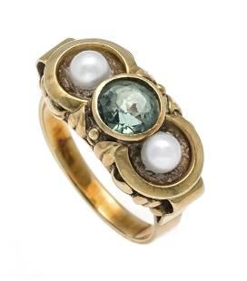 Gemstone-pearl ring GG 585/000