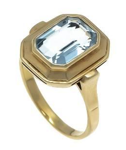 Aquamarine ring GG 585/000 wit