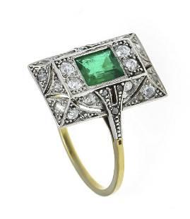 Art Deco emerald old cut diamo