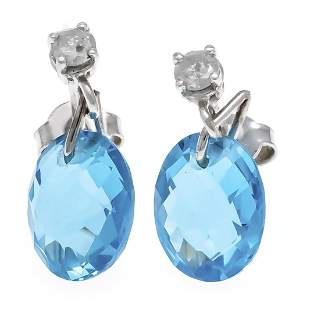 Blue topaz diamond stud earrin