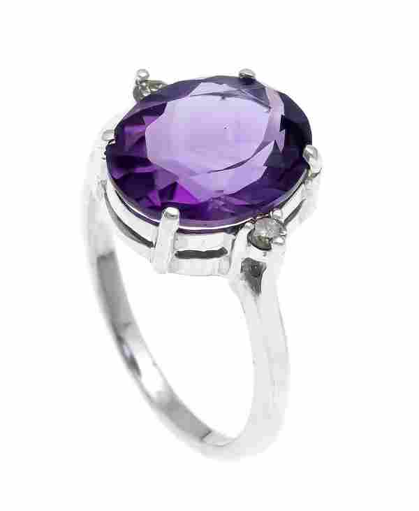 Amethyst diamond ring WG 585/0
