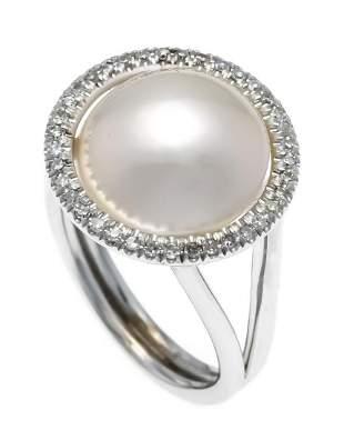 Mabé pearl diamond ring WG 585