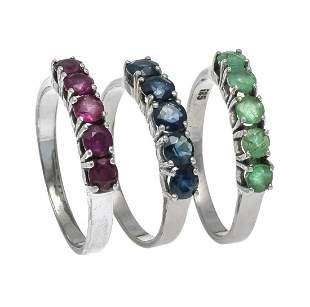 Ruby emerald sapphire ring set