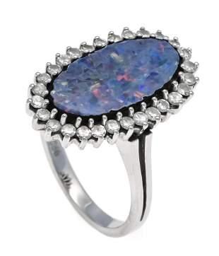 Opal diamond ring WG 750/000 w