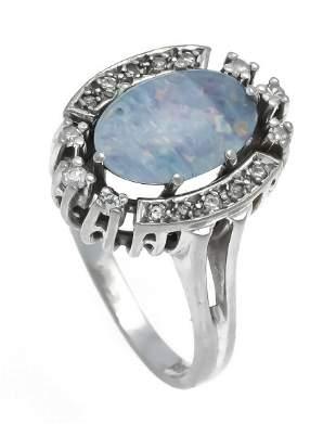 Opal diamond ring WG 585/000 w