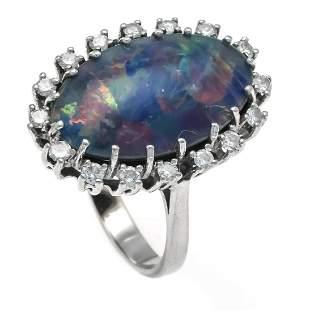 Opal triplet diamond ring WG 5