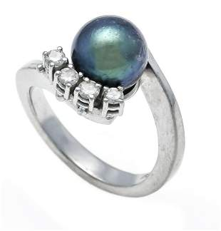 Pearl-cut diamond ring WG 585/