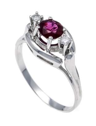 Ruby diamond ring WG 585/000 w