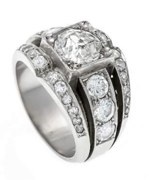 Old cut diamond ring platinum