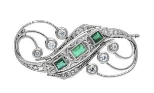 Art Deco brooch platinum 800/0