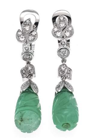 Emerald old-cut diamond clip e