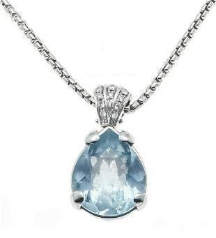 Aquamarine diamond pendant WG