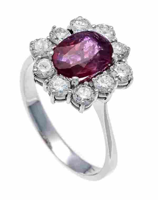 Ruby diamond ring WG 750/000 w