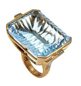 Blue topaz diamond ring GG 750