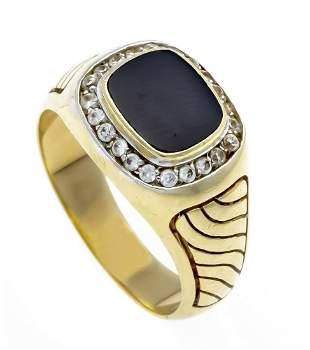 Onyx men's ring GG 585/000 wit
