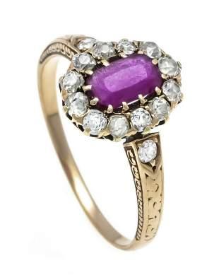 Ruby old cut diamond ring RG 5