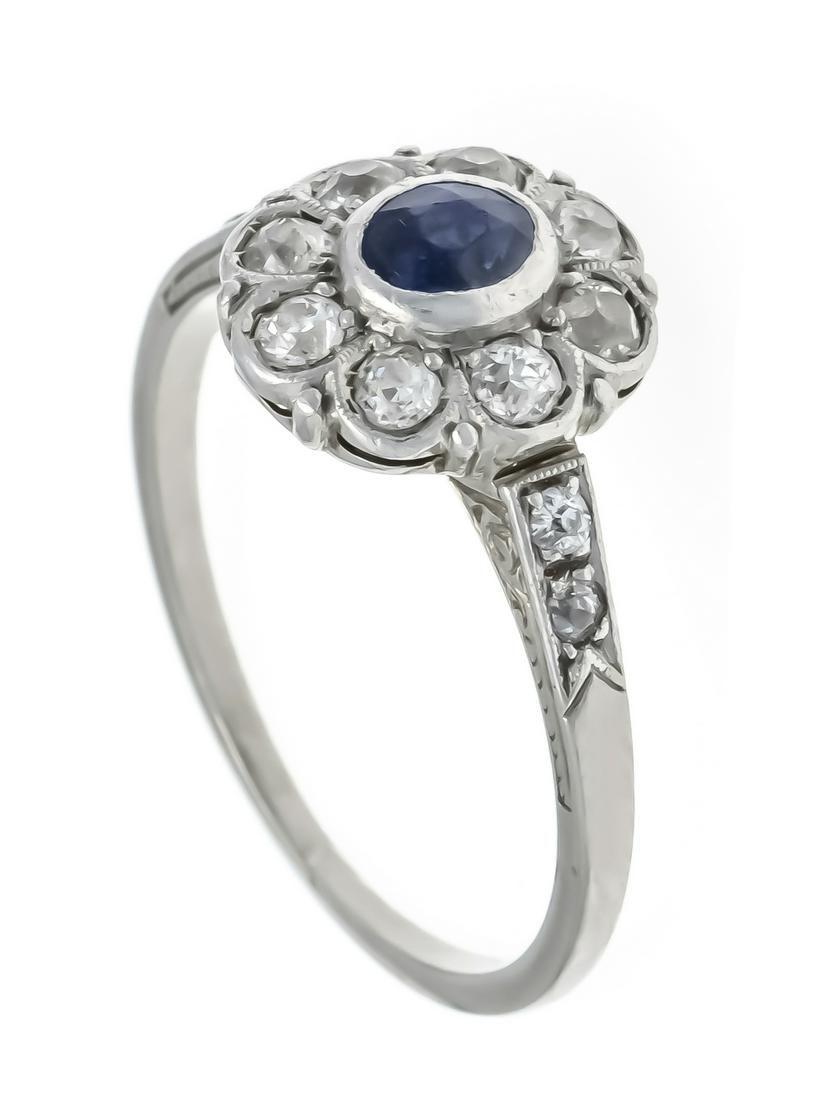 Sapphire old cut diamond ring
