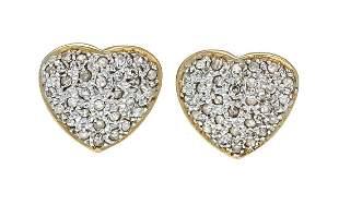 Diamond stud earrings heart GG