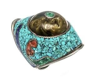 Stone mosaic ring silver 925/0