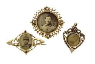 3 Art Nouveau portrait pieces,