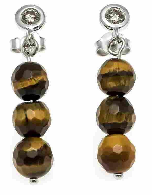 Tiger eye diamond stud earring