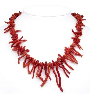 Coral necklace with red coral