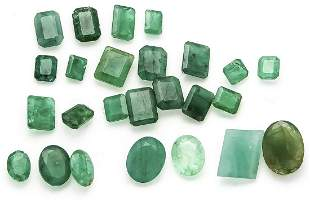 mixed lot of emeralds, togethe