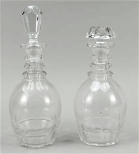 Two carafes, 20th c., polygonal stan