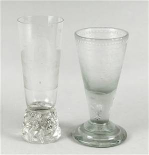 Two footed glasses, 19th/20th c., 1x