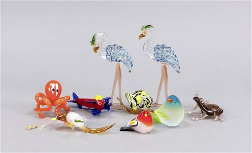 Set of nine glass animals and object
