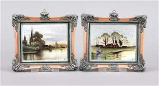 Pair of picture plates, KPM Berlin,