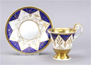 Biedermeier cup and saucer, KPM Berl