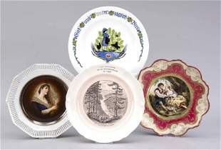 Four plates, early 20th c., Art Nouv