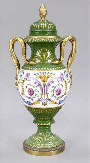 Serpentine handle vase, German, 20th