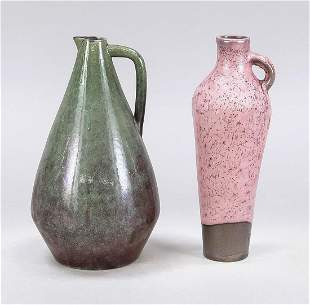 Two jugs, 20th c., stylized formem w